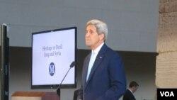 美国国务卿克里在纽约大都会博物馆发表讲话。(2014年9月22日)