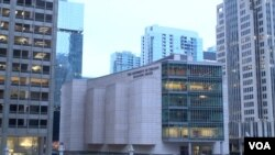 第25届美中商贸联委会在芝加哥大学商学院格里彻尔中心举行。(美国之音黎堡拍摄)