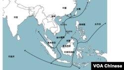 南中國海航運圖