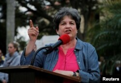 FILE - U.S. Rep. Lois Frankel (D-FL) speaks at a rally in Delray Beach, Florida, Feb. 19, 2018.