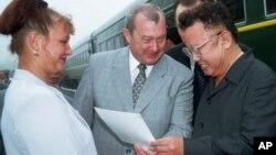 Ким Чен Ир на российско-северокорейской границе, 2001 год. AP Photo
