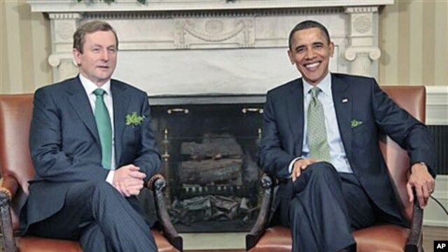 President Barack Obama during his meeting with Irish Prime Minister Enda Kenny in the Oval Office of the White House in Washington, March, 17, 2011