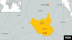 This map shows the Juba and Bor areas of South Sudan.