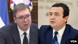 Kombinacija fotografija predsednika Srbije Aleksandra Vučića i premijera Kosova Aljbina Kurtija
