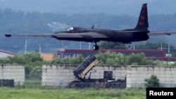 A U.S. Air Force U-2 Dragon Lady takes part in a drill at Osan Air Base in Pyeongtaek, South Korea, August 21, 2017.