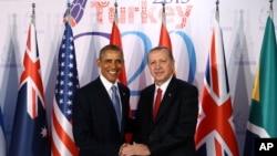 奥巴马总统在塔利亚与土耳其总统埃尔多安会见