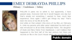 Emily Phillips' obituary, as it appeared online in the Florida Times-Union newspaper.