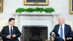 美国总统拜登在白宫会见乌克兰总统泽连斯基。(2021年9月1日)