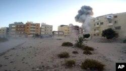 Une explosion à un barrage de l'armée égyptienne , le 9 janvier 2017. (photo de propagande jihadiste)