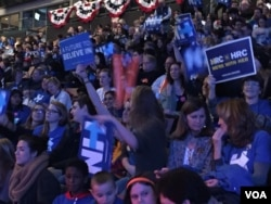 FILE - Supporters of presidential candidate Hillary Clinton attend a rally in Manchester, New Hampshire, Feb. 6, 2016. (A. Pande/VOA)