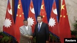 2016年3月21日習近平人民大會堂接見到中國訪問當時的尼泊爾總理。