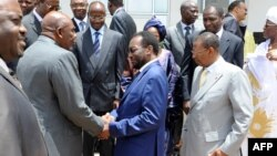 Mali's interim leader Dioncounda Traore and other members of the new government.