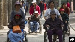 Elderly women in wheelchairs are pushed by care workers while touring a park in Beijing, China