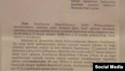 Saleh Qafarova bəraət verilməsi barədə Hərbi Prokurorluğun məktubu