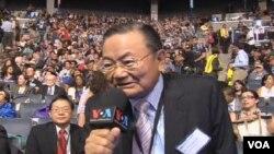 台湾国民党副主席詹春柏接受美国之音采访(电视截屏)