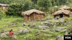 A makeshift Batwa camp on the edge of Mgahinga National Park. December 11, 2012. (Hilary Heuler / VOA News)