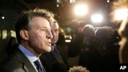Presiden IAAF Sebastian Coe di London (13/11).