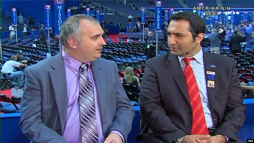 Turkish Service reporter Alp Esmer interviews Ersal Ozdemir, the only Turkish-American delegate at the Republican Convention, on a live show for an affiliate in Turkey.