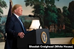 President Donald J. Trump addresses his remarks Monday, August 5, 2019, in the Diplomatic Reception Room of the White House on the mass shootings over the weekend in El Paso, Texas and Dayton, Ohio.