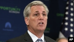 FILE - In this March 24, 2015 file photo, House Majority Leader Kevin McCarthy of California talks during a news conference on Capitol Hill in Washington