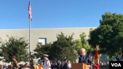 美國海軍部長斯賓塞2019年10月26日在加州參加儀式,紀念前南越81名軍人。