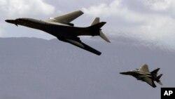 این نخستین بار است که بم افگنهای B-1B امریکایی بر فراز جزیرۀ کوریای به پرواز در میآید
