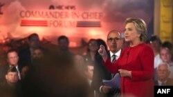 2016年9月7日民主党总统候选人希拉里·克林顿在纽约NBC发表讲话。