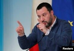 FILE - Italy's Interior Minister Matteo Salvini gestures as he attends a news conference in Rome, Italy, Jan. 14, 2019.
