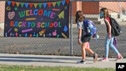 미국 유타주 초등학생들이 등교하고 있다. (자료사진)