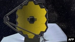 An artist's picture of what the James Webb Space Telescope will look like in orbit
