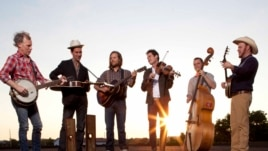 This undated image released by ATO Records shows members of Old Crow Medicine Show, from left, Kevin Hayes, Gill Landry, Chance McCoy, Ketch Secor, Morgan Jahnig, and Critter Fuqua.