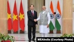 Chủ tịch Việt Nam Trần Đại Quang và Thủ tướng Ấn Độ Narendra Modi.