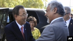 UN Secretary General Ban Ki-moon, left, is greeted by East Timorese PM Xanana Gusmao prior to their meeting in Dili, East Timor, August 15, 2012.