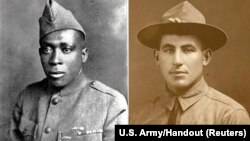 U.S. Army Pvt. Henry Johnson, left, and Sgt. William Shemin, right, are pictured in these undated photographs released June 2, 2015.
