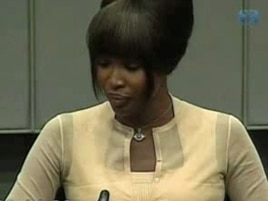 Naomi Campbell in the pressroom of the U.N.-backed Special Court for Sierra Leone in Leidschendam, Netherlands.