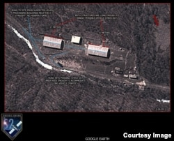 Two buildings, shown in the satellite image, may be used for missile assembly operations, according to Strategic Sentinel. (Strategic Sentinel)