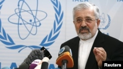 Iran's International Atomic Energy Agency ambassador Ali Asghar Soltanieh addresses a news conference during a meeting at the United Nations headquarters in Vienna, June 6, 2012.
