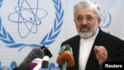 伊朗驻国际原子能机构大使苏尔坦尼在维也纳该机构总部记者会上讲话