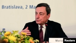 President of the European Central Bank Mario Draghi attends a news conference during the Meeting of the Governing Council of the European Central Bank, in Bratislava, Slovakia, May 2, 2013.