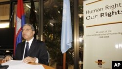 Surya Subedi, U.N. special rapporteur for human rights in Cambodia, speaks during a press conference in Phnom Penh, Cambodia, Thursday, Feb. 24, 2011, concluding his 10-day mission to Cambodia. (AP Photo/Heng Sinith)