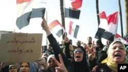 埃及反穆巴拉克抗议者游行示威时高喊口号