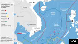 This map illustrates territorial claims in the South China Sea.