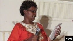 Teccla Hove delivers a keynote speech at her late husband memorial in Harare on Saturday.