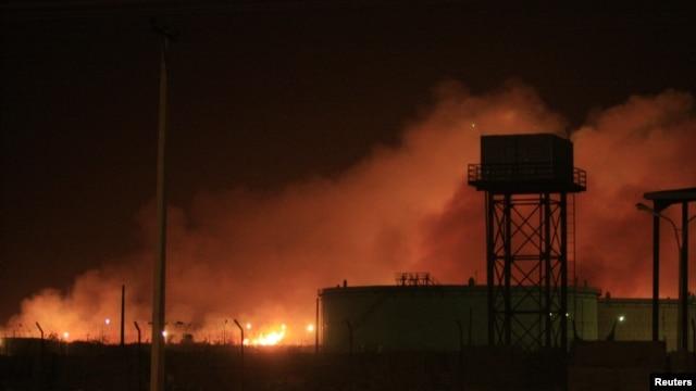 Fire engulfs the Yarmouk ammunition factory in Khartoum, Sudan, October 24, 2012.