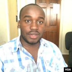 Irvine Takavada, one of Itai Dzamara's colleagues from the National Youth Alliance. (Photo: Columbus S. Mavhunga for VOA)