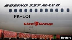 L'avion Boeing 737 Max 8 de Lion Air immobilisé sur le tarmac de l'aéroport international Soekarno Hatta, près de Jakarta, en Indonésie, le 15 mars 2019.