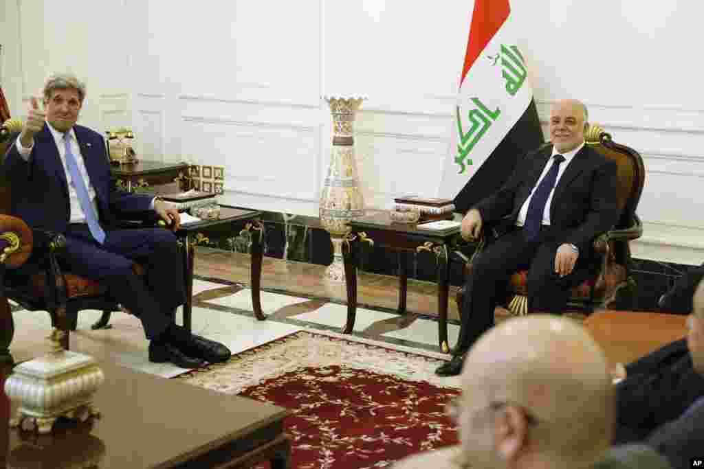 امریکی وزیر خارجہ کی عراقی وزیراعظم سے ملاقات۔
