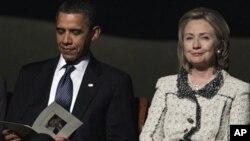 总统奥巴马和国务卿克林顿在霍尔布鲁克的追悼会上