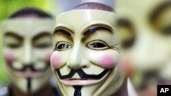 Mặt nạ hình Guy Fawkes biểu thị cho nhóm tin tặc 'Vô danh' (Anonymous)
