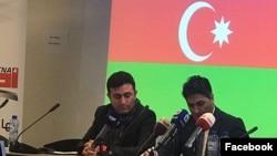Azərbaycanlı milli fəallar Saleh Kamrani və Babək Çələbiyanlı Bürsseldə konfransda (Foto Saleh Kamraninin Facebook səhifəsindən götürülüb)